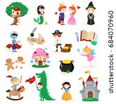set of fairytale characters in...