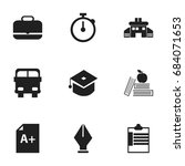 set of 9 editable knowledge... | Shutterstock .eps vector #684071653