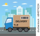 delivery truck with cardboard... | Shutterstock .eps vector #684074224