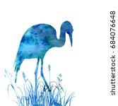 heron in grass silhouette wild... | Shutterstock . vector #684076648