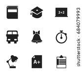 set of 9 editable education... | Shutterstock .eps vector #684079993