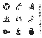 set of 9 editable fitness icons.... | Shutterstock .eps vector #684081433