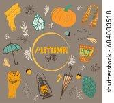 autumn objects set.... | Shutterstock . vector #684083518