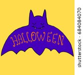funny  crazy  purple  bat with... | Shutterstock .eps vector #684084070