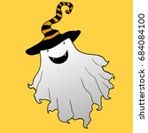 cheerful ghost in a hat artoon... | Shutterstock .eps vector #684084100