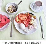 plate with a meal lunch | Shutterstock . vector #684101014