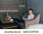 young attractive handsome... | Shutterstock . vector #684105904