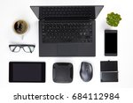 various devices arranged on... | Shutterstock . vector #684112984
