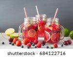summer berry lemonade with lime ... | Shutterstock . vector #684122716