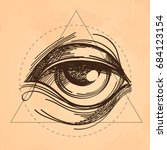 hand drawn sketch eye of... | Shutterstock .eps vector #684123154