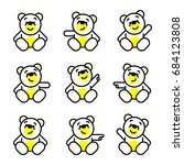 vector set of bear icon. flat... | Shutterstock .eps vector #684123808