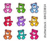 vector set of bear icon. flat... | Shutterstock .eps vector #684123814
