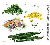 vegetable sides. watercolor... | Shutterstock . vector #684126916