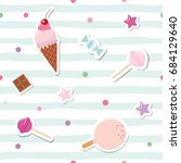 festive seamless pattern with... | Shutterstock .eps vector #684129640