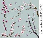 set of realistic sakura japan...   Shutterstock . vector #684134053