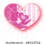 valentine heart with woman face ... | Shutterstock .eps vector #68413516