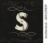 retro style. western letter... | Shutterstock .eps vector #684135859