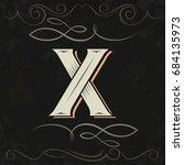 retro style. western letter... | Shutterstock .eps vector #684135973