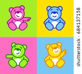 vector set of bear icon. flat... | Shutterstock .eps vector #684137158