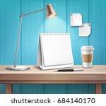 blank table calendar lamp pen... | Shutterstock .eps vector #684140170