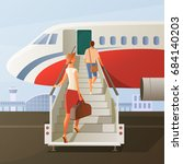 boarding in airplane... | Shutterstock .eps vector #684140203