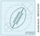 vector blueprint football icon... | Shutterstock .eps vector #684141424