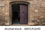 Open Medieval Door. Old Wooden...