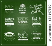 back to school chalked label on ... | Shutterstock .eps vector #684147550