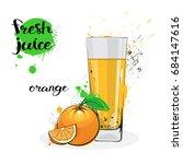 orange juice fresh hand drawn... | Shutterstock .eps vector #684147616