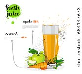 apple carrot mix cocktail of... | Shutterstock .eps vector #684147673