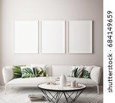 mock up poster frame in... | Shutterstock . vector #684149659