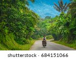male cyclist cycling through... | Shutterstock . vector #684151066