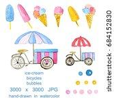 watercolor set with ice cream ... | Shutterstock . vector #684152830