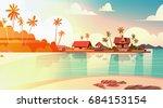 sea shore beach with villa... | Shutterstock .eps vector #684153154
