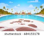 sea shore beach with villa... | Shutterstock .eps vector #684153178