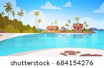 sea shore beach with villa... | Shutterstock .eps vector #684154276