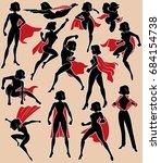 super heroine silhouette in 13... | Shutterstock .eps vector #684154738