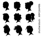 vector collection of woman head ... | Shutterstock .eps vector #684166486