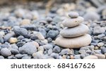 small tower made of pebbles on... | Shutterstock . vector #684167626