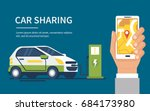 car sharing concept banner.... | Shutterstock .eps vector #684173980
