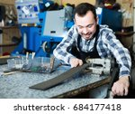 young male worker preparing his ... | Shutterstock . vector #684177418