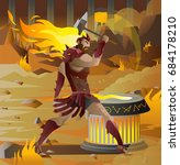 vulcan greek roman god of the... | Shutterstock .eps vector #684178210