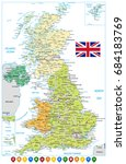 united kingdom road map and... | Shutterstock .eps vector #684183769