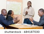 young woman applauded by her co ... | Shutterstock . vector #684187030