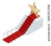 isometric red event carpet... | Shutterstock .eps vector #684191548
