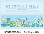 people at road works vector... | Shutterstock .eps vector #684192103