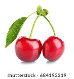 fresh ripe cherries on white... | Shutterstock . vector #684192319