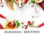 spices in wooden bowl white... | Shutterstock . vector #684193924