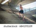 athletic build man running up... | Shutterstock . vector #684195109