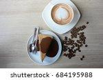 morning coffee on weekends... | Shutterstock . vector #684195988